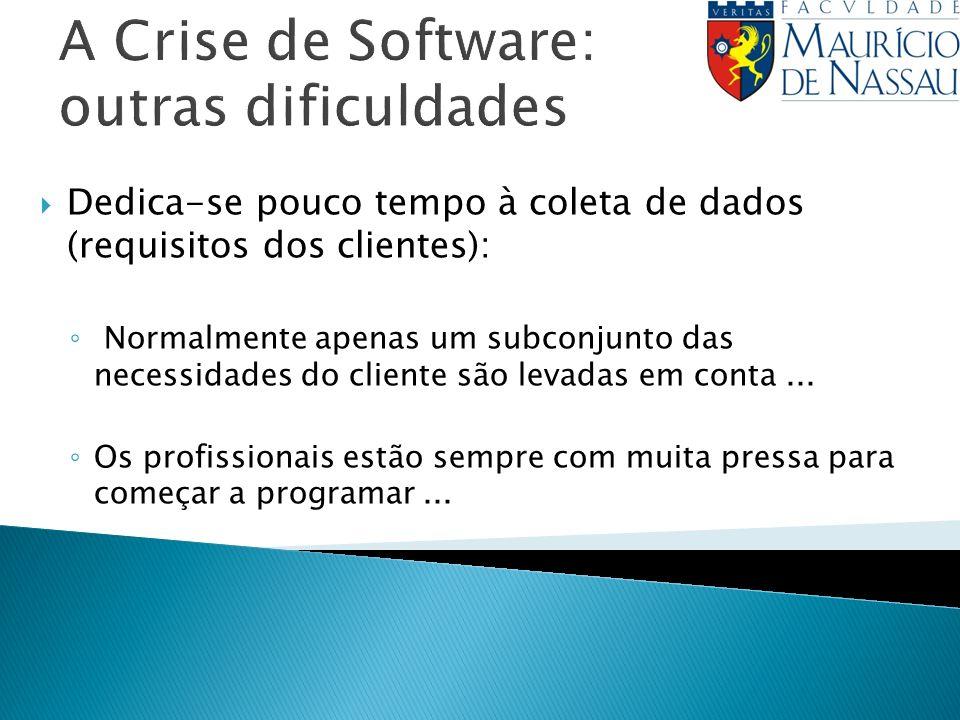 A Crise de Software: outras dificuldades Dedica-se pouco tempo à coleta de dados (requisitos dos clientes): Normalmente apenas um subconjunto das necessidades do cliente são levadas em conta...