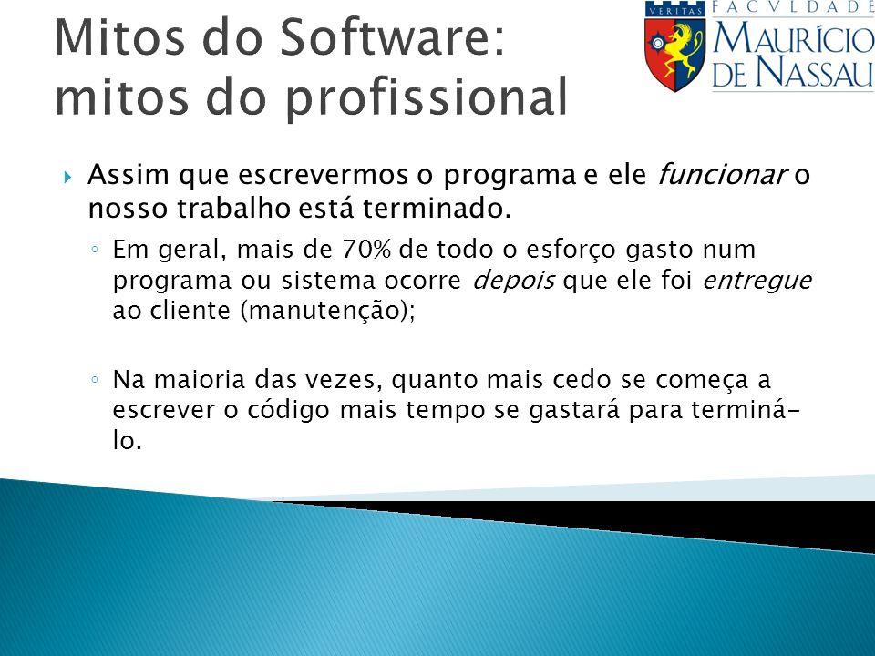 Mitos do Software: mitos do profissional Assim que escrevermos o programa e ele funcionar o nosso trabalho está terminado.