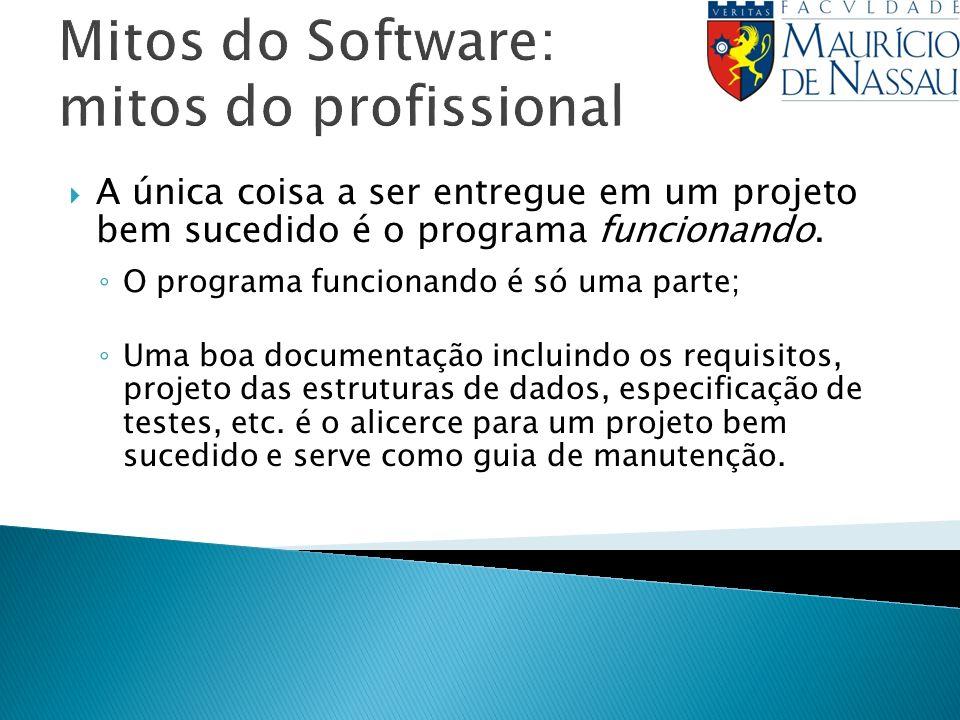 Mitos do Software: mitos do profissional A única coisa a ser entregue em um projeto bem sucedido é o programa funcionando. O programa funcionando é só