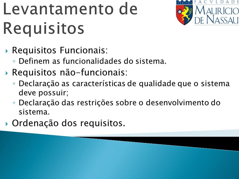 Levantamento de Requisitos Requisitos Funcionais: Definem as funcionalidades do sistema. Requisitos não-funcionais: Declaração as características de q