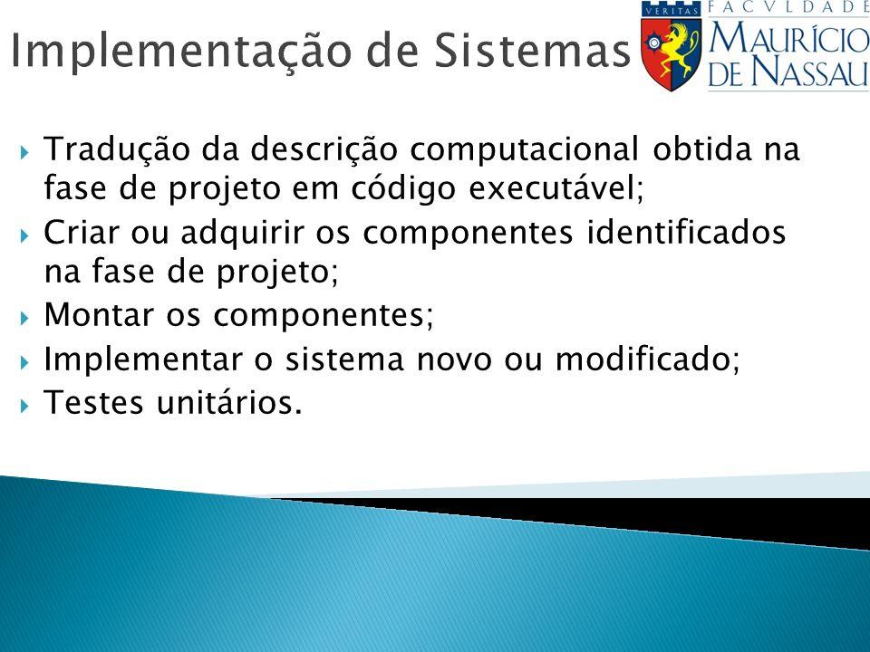 Implementação de Sistemas Tradução da descrição computacional obtida na fase de projeto em código executável; Criar ou adquirir os componentes identificados na fase de projeto; Montar os componentes; Implementar o sistema novo ou modificado; Testes unitários.