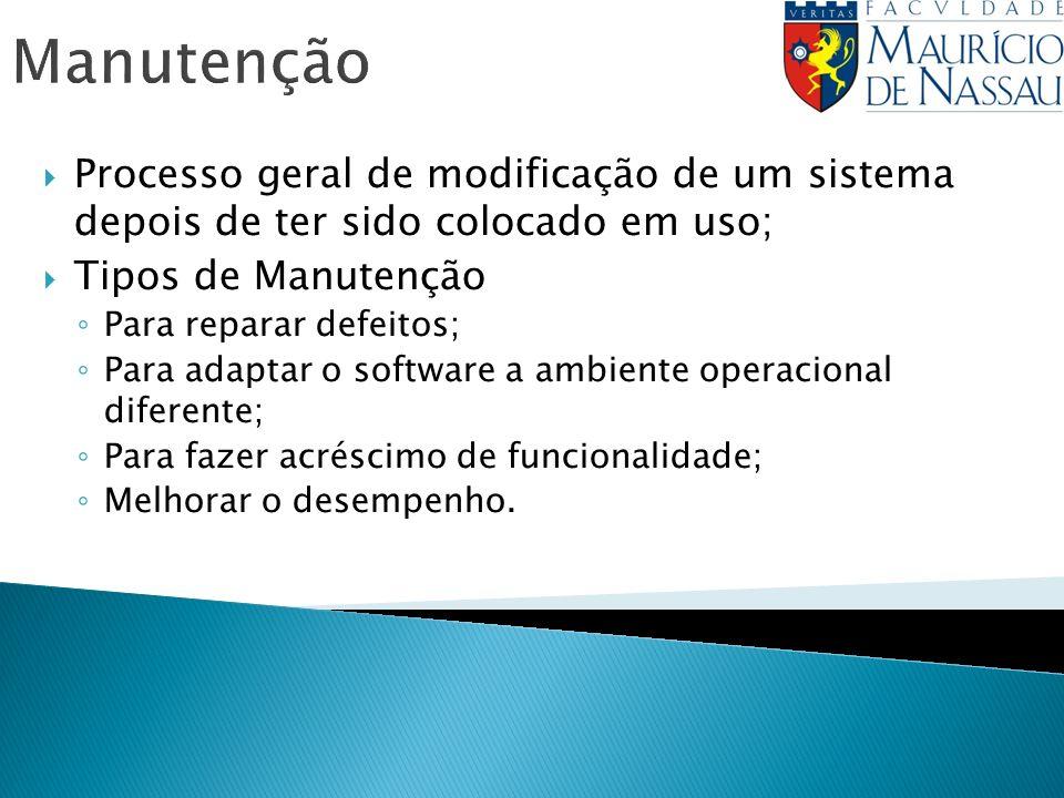 Manutenção Processo geral de modificação de um sistema depois de ter sido colocado em uso; Tipos de Manutenção Para reparar defeitos; Para adaptar o s