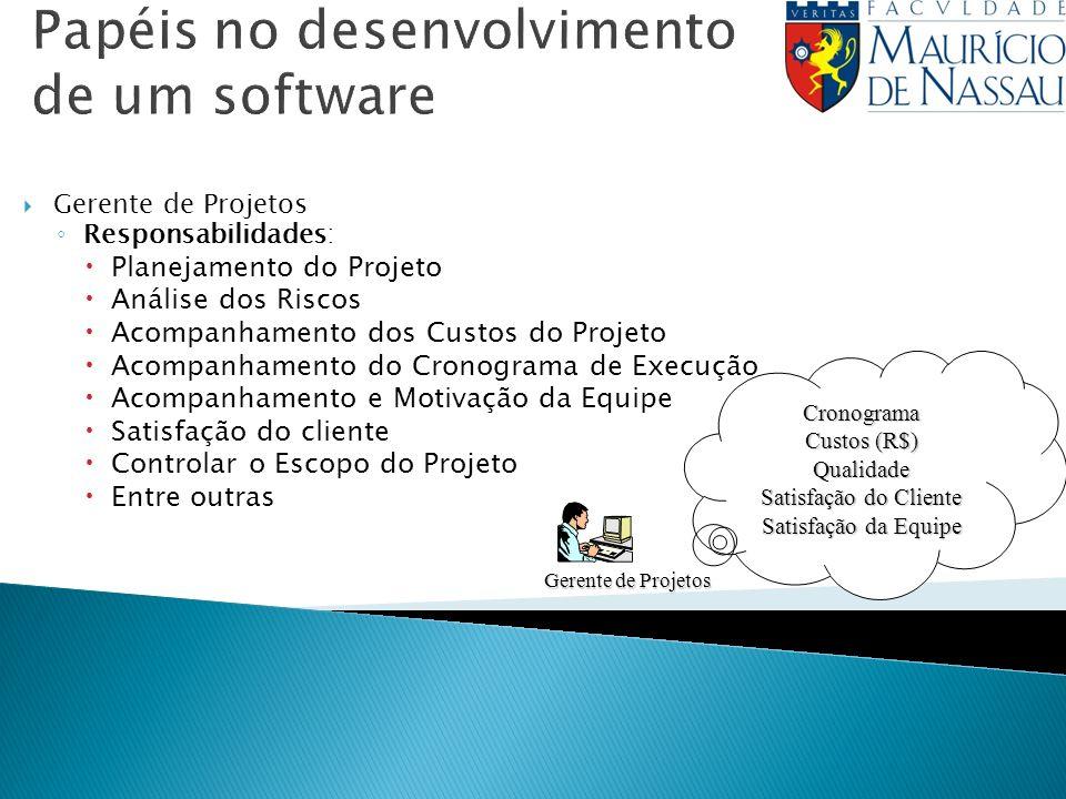 Papéis no desenvolvimento de um software Gerente de Projetos Responsabilidades: Planejamento do Projeto Análise dos Riscos Acompanhamento dos Custos d