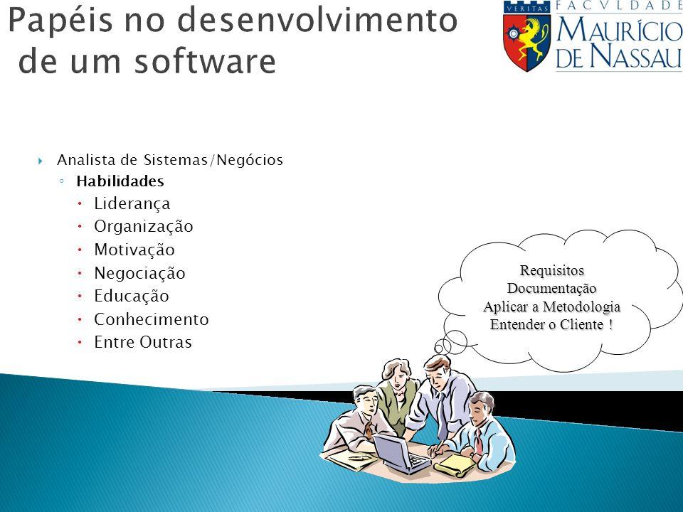 Analista de Sistemas/Negócios Habilidades Liderança Organização Motivação Negociação Educação Conhecimento Entre Outras RequisitosDocumentação Aplicar