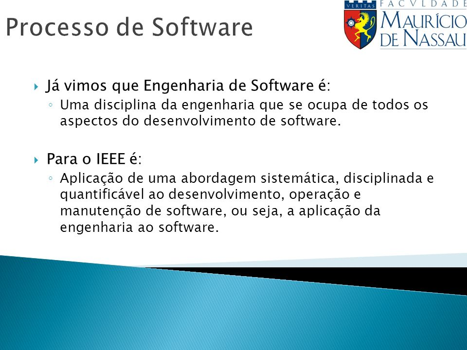 Processo de Software Já vimos que Engenharia de Software é: Uma disciplina da engenharia que se ocupa de todos os aspectos do desenvolvimento de software.