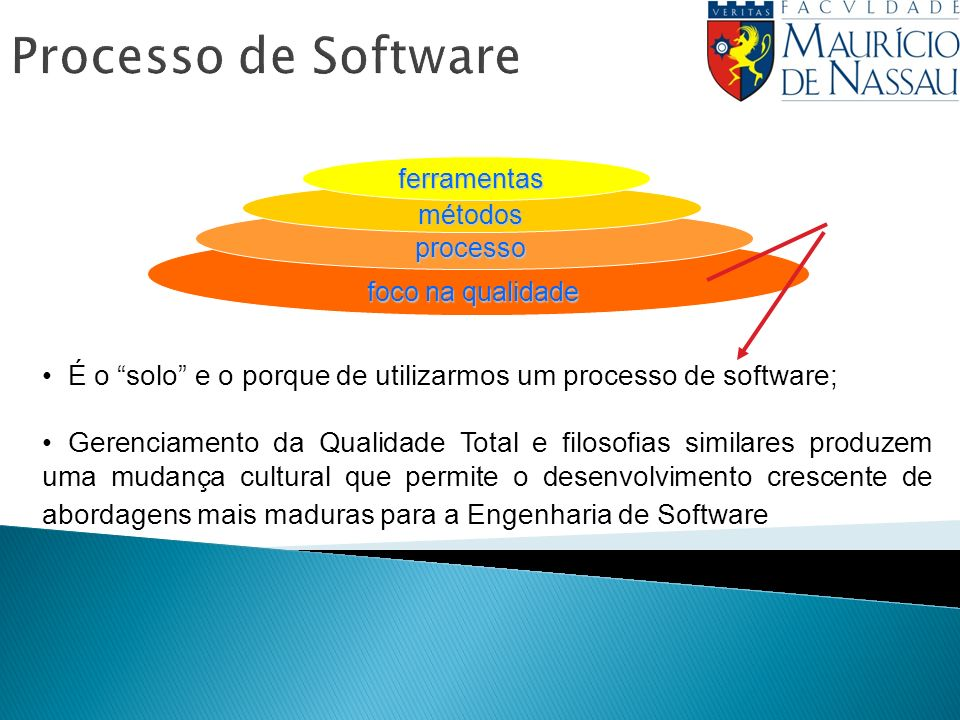 Processo de Softwareferramentas métodos processo foco na qualidade É o solo e o porque de utilizarmos um processo de software; Gerenciamento da Qualidade Total e filosofias similares produzem uma mudança cultural que permite o desenvolvimento crescente de abordagens mais maduras para a Engenharia de Software