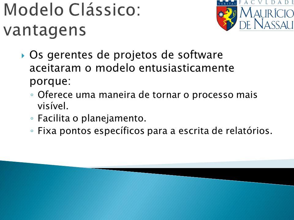 Modelo Clássico: vantagens Os gerentes de projetos de software aceitaram o modelo entusiasticamente porque: Oferece uma maneira de tornar o processo mais visível.