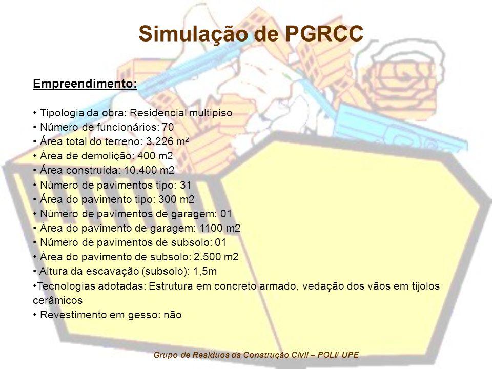Simulação de PGRCC Empreendimento: Tipologia da obra: Residencial multipiso Número de funcionários: 70 Área total do terreno: 3.226 m 2 Área de demoli