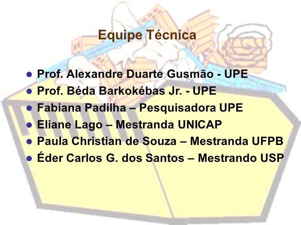 Prof. Alexandre Duarte Gusmão - UPE Prof. Béda Barkokébas Jr. - UPE Fabiana Padilha – Pesquisadora UPE Eliane Lago – Mestranda UNICAP Paula Christian