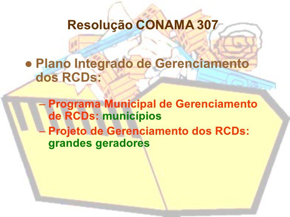 Plano Integrado de Gerenciamento dos RCDs: –Programa Municipal de Gerenciamento de RCDs: municípios –Projeto de Gerenciamento dos RCDs: grandes gerado