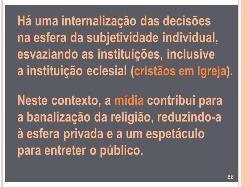 Há uma internalização das decisões na esfera da subjetividade individual, esvaziando as instituições, inclusive a instituição eclesial (cristãos em Ig