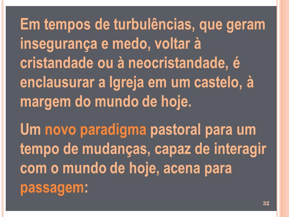 Em tempos de turbulências, que geram insegurança e medo, voltar à cristandade ou à neocristandade, é enclausurar a Igreja em um castelo, à margem do m
