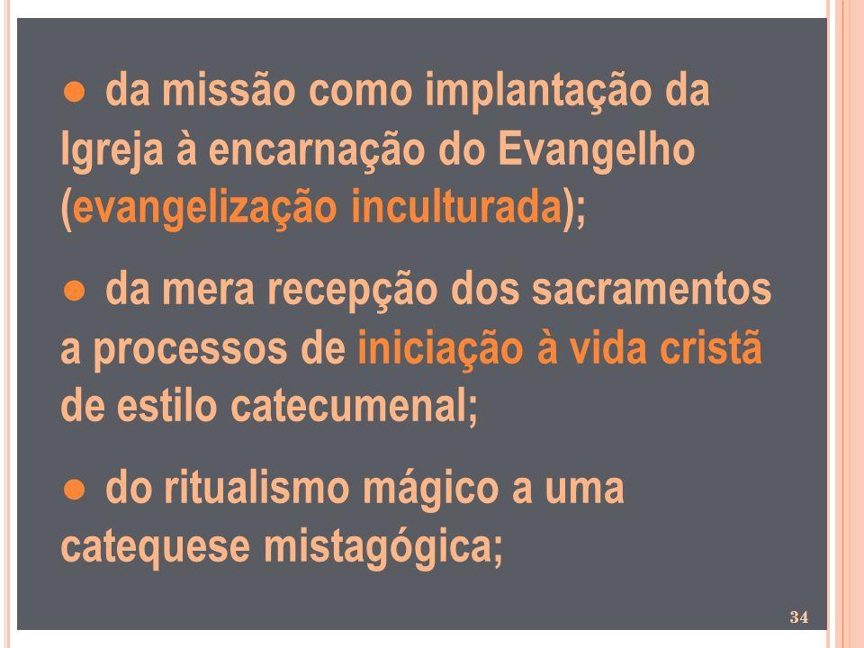 da missão como implantação da Igreja à encarnação do Evangelho (evangelização inculturada); da mera recepção dos sacramentos a processos de iniciação