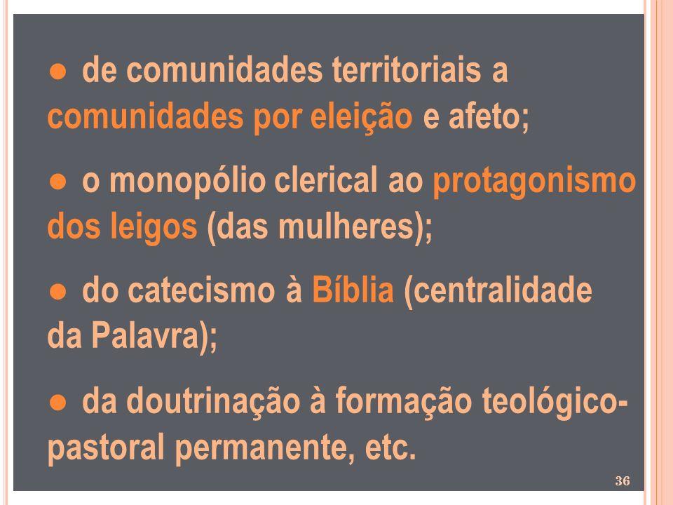 de comunidades territoriais a comunidades por eleição e afeto; o monopólio clerical ao protagonismo dos leigos (das mulheres); do catecismo à Bíblia (