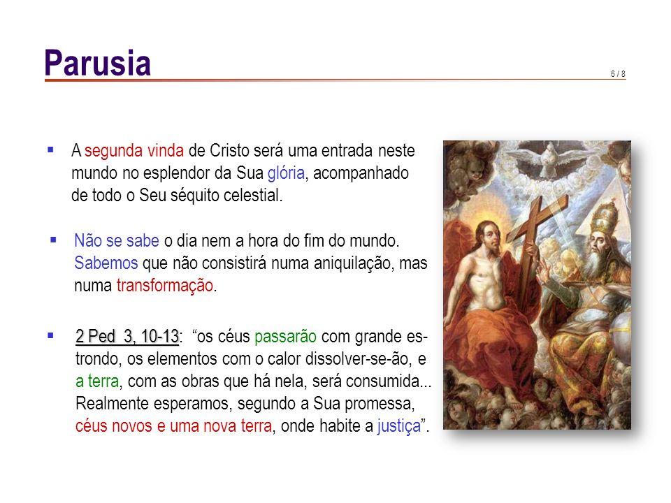 7 / 8 A Revelação não esclarece a data da vinda de Cristo, mas fala de sinais que a precederão: A pregação do Evangelho em todo o mundo; A grande apostasia (A suprema impostura religiosa é a do Anti- cristo, isto é, dum pseudo-mes- -sianismo em que o homem se glorifica a si mesmo, substituin- do-se a Deus e ao Messias En- CCE 675 carnado CCE 675)); Ap As penalidades da Igreja (Ap:luta do dragão com a mulher do céu); Ap O caos da criação (4 ginetes do Ap: branco, vitória de Cristo na sua Paixão e Ressur- reição; vermelho, ódio e guerras; negro, fome; cadavérico, morte); Rom 11, 29 A conversão dos judeus (Rom 11, 29).