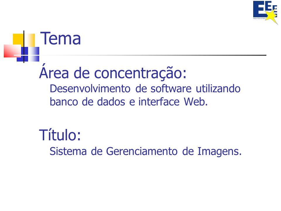 Tema Área de concentração: Desenvolvimento de software utilizando banco de dados e interface Web.