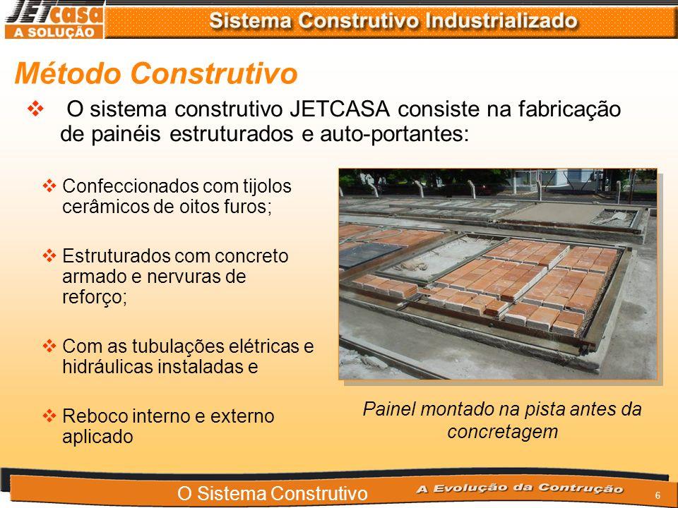 6 O sistema construtivo JETCASA consiste na fabricação de painéis estruturados e auto-portantes: Confeccionados com tijolos cerâmicos de oitos furos; Estruturados com concreto armado e nervuras de reforço; Com as tubulações elétricas e hidráulicas instaladas e Reboco interno e externo aplicado Painel montado na pista antes da concretagem Método Construtivo O Sistema Construtivo