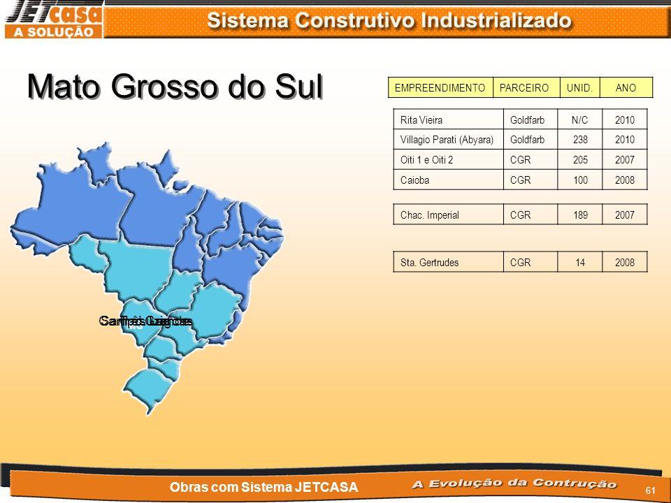 60 Mato Grosso MT EMPREENDIMENTOPARCEIROUNID.ANO Cuiabá Obras com Sistema JETCASA San MarinoGoldfarb2522009/10 MônacoGoldfarb3762008 MontenegroGoldfar