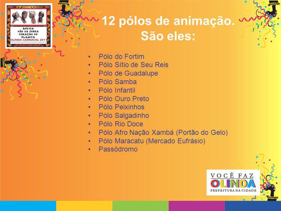 12 pólos de animação. São eles: Pólo do Fortim Pólo Sítio de Seu Reis Pólo de Guadalupe Pólo Samba Pólo Infantil Pólo Ouro Preto Pólo Peixinhos Pólo S