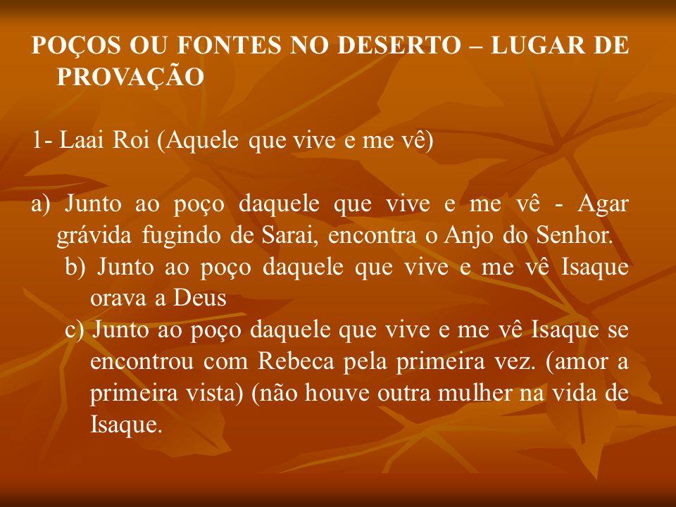 POÇOS OU FONTES NO DESERTO – LUGAR DE PROVAÇÃO 1- Laai Roi (Aquele que vive e me vê) a) Junto ao poço daquele que vive e me vê - Agar grávida fugindo de Sarai, encontra o Anjo do Senhor.