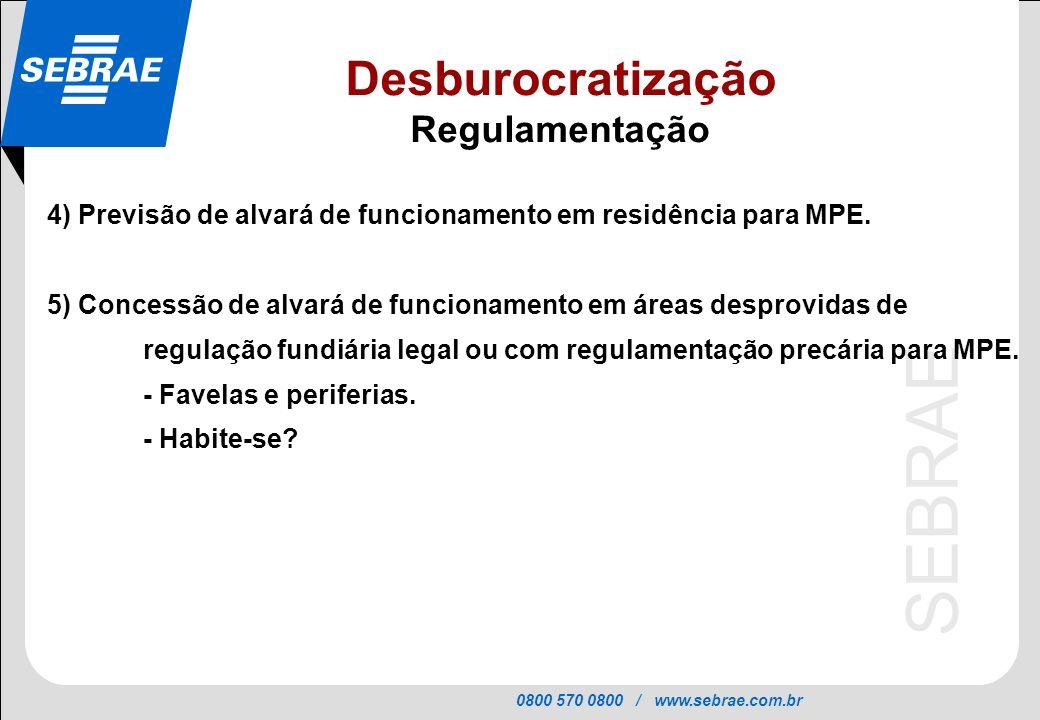 0800 570 0800 / www.sebrae.com.br SEBRAE 4) Previsão de alvará de funcionamento em residência para MPE. 5) Concessão de alvará de funcionamento em áre