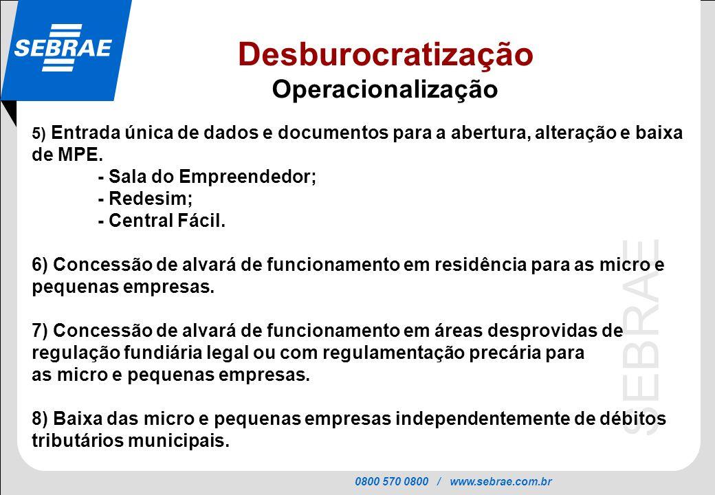 0800 570 0800 / www.sebrae.com.br SEBRAE 5) Entrada única de dados e documentos para a abertura, alteração e baixa de MPE. - Sala do Empreendedor; - R
