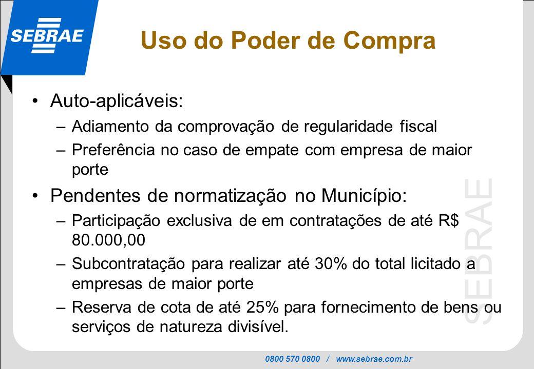0800 570 0800 / www.sebrae.com.br SEBRAE Auto-aplicáveis: –Adiamento da comprovação de regularidade fiscal –Preferência no caso de empate com empresa