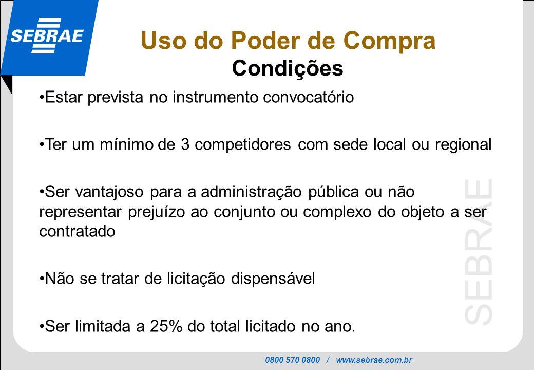 0800 570 0800 / www.sebrae.com.br SEBRAE Uso do Poder de Compra Condições Estar prevista no instrumento convocatório Ter um mínimo de 3 competidores c