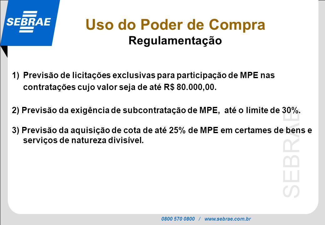0800 570 0800 / www.sebrae.com.br SEBRAE 1)Previsão de licitações exclusivas para participação de MPE nas contratações cujo valor seja de até R$ 80.00
