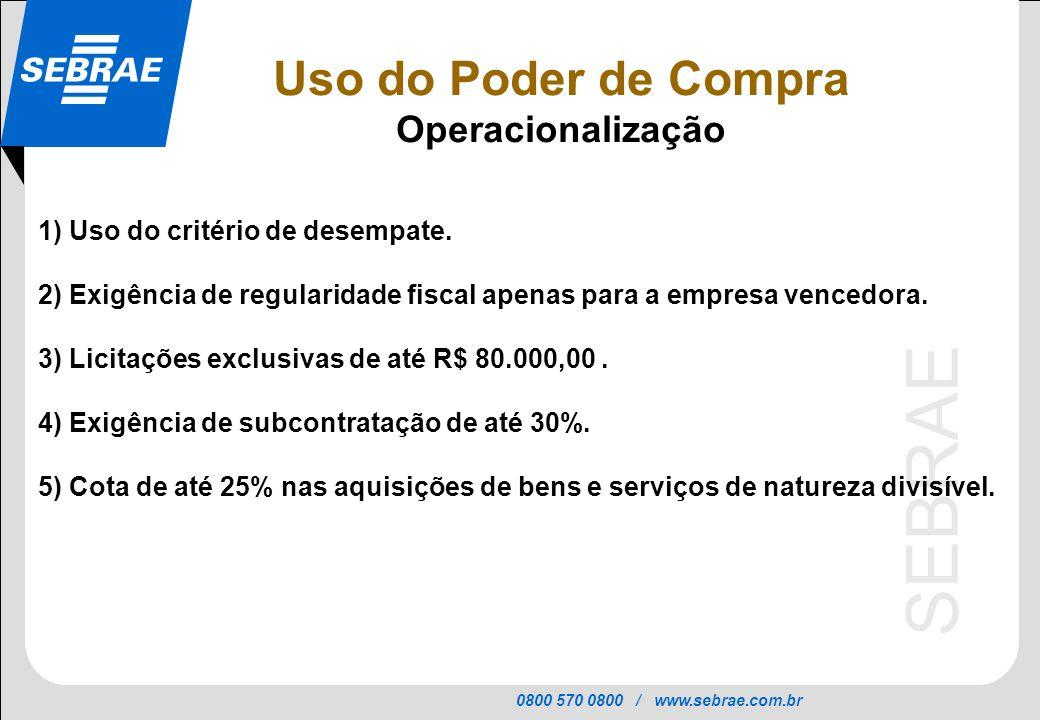 0800 570 0800 / www.sebrae.com.br SEBRAE 1) Uso do critério de desempate. 2) Exigência de regularidade fiscal apenas para a empresa vencedora. 3) Lici