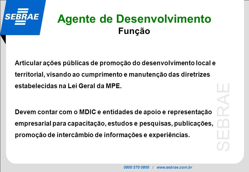 0800 570 0800 / www.sebrae.com.br SEBRAE Agente de Desenvolvimento Função Articular ações públicas de promoção do desenvolvimento local e territorial, visando ao cumprimento e manutenção das diretrizes estabelecidas na Lei Geral da MPE.