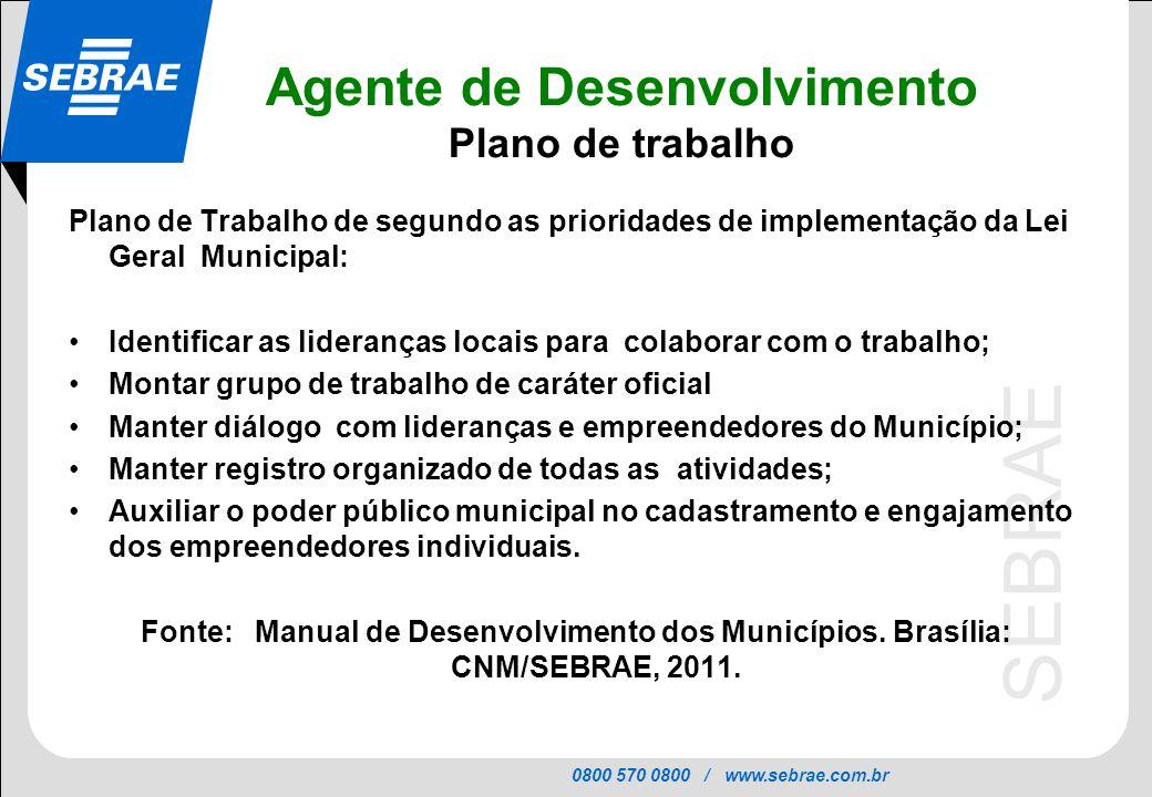 0800 570 0800 / www.sebrae.com.br SEBRAE Agente de Desenvolvimento Plano de trabalho Plano de Trabalho de segundo as prioridades de implementação da L