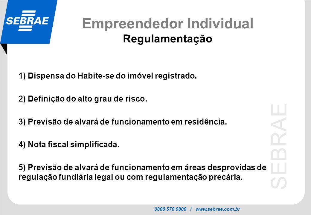 0800 570 0800 / www.sebrae.com.br SEBRAE Empreendedor Individual Regulamentação 1) Dispensa do Habite-se do imóvel registrado. 2) Definição do alto gr