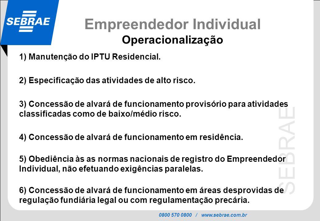 0800 570 0800 / www.sebrae.com.br SEBRAE Empreendedor Individual Operacionalização 1) Manutenção do IPTU Residencial. 2) Especificação das atividades