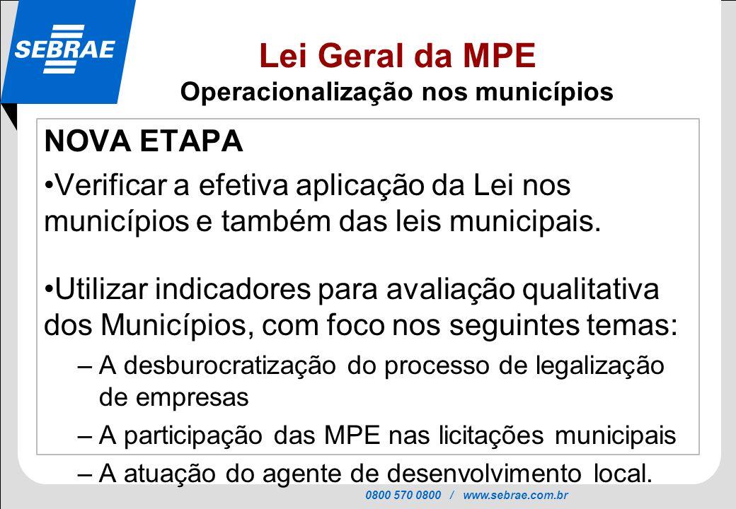 0800 570 0800 / www.sebrae.com.br SEBRAE NOVA ETAPA Verificar a efetiva aplicação da Lei nos municípios e também das leis municipais. Utilizar indicad