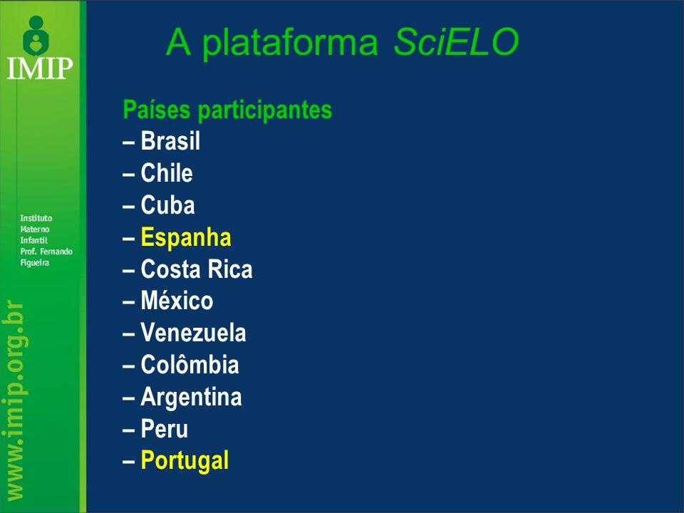 A plataforma SciELO Países participantes – Brasil – Chile – Cuba – Espanha – Costa Rica – México – Venezuela – Colômbia – Argentina – Peru – Portugal