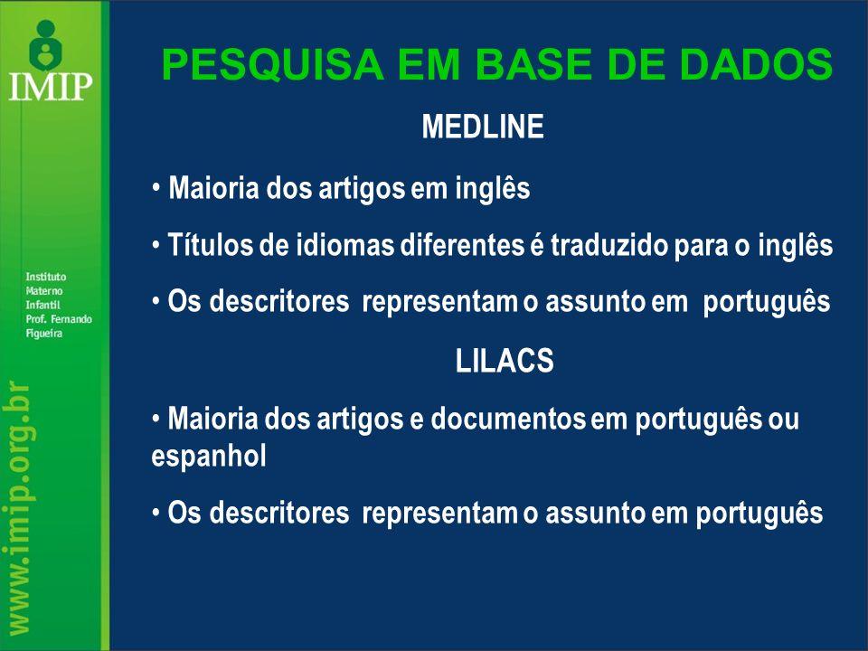 PESQUISA EM BASE DE DADOS MEDLINE Maioria dos artigos em inglês Títulos de idiomas diferentes é traduzido para o inglês Os descritores representam o a