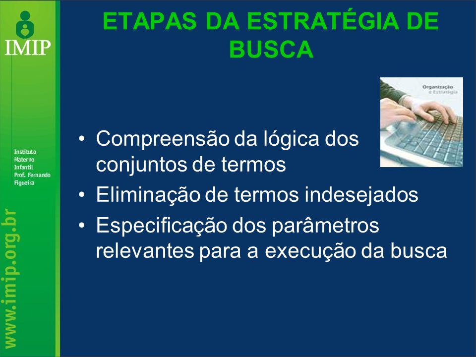 ETAPAS DA ESTRATÉGIA DE BUSCA Compreensão da lógica dos conjuntos de termos Eliminação de termos indesejados Especificação dos parâmetros relevantes p