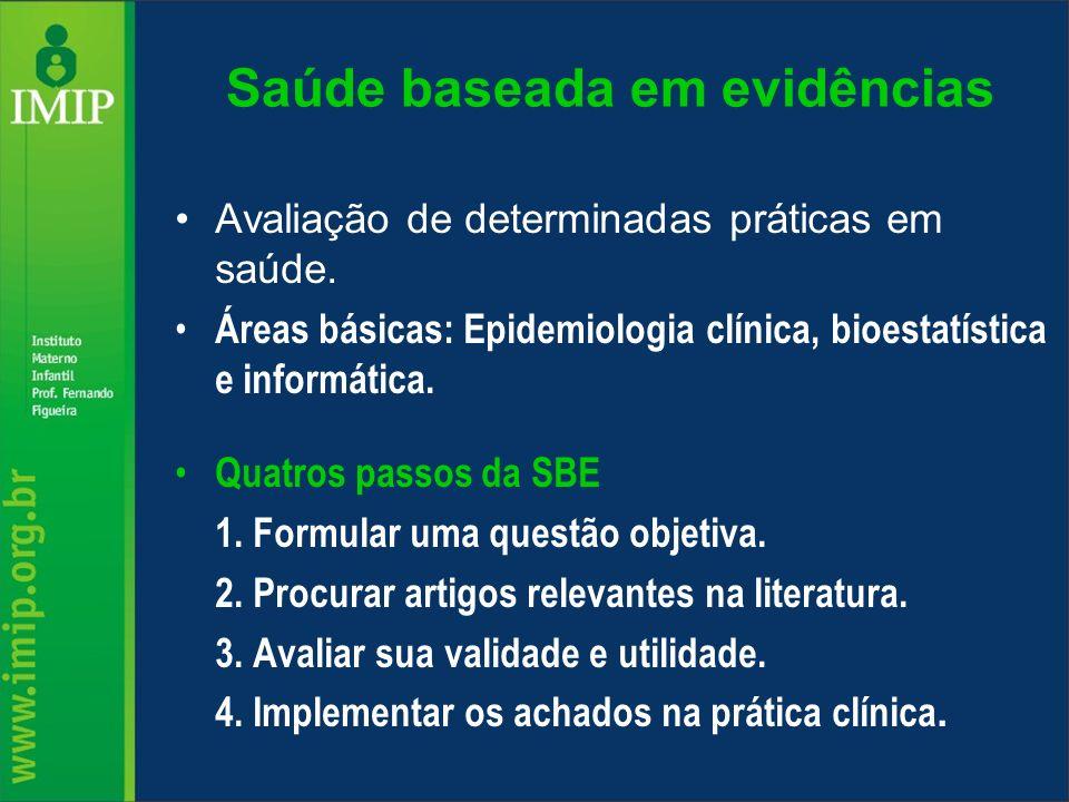 Saúde baseada em evidências Avaliação de determinadas práticas em saúde. Áreas básicas: Epidemiologia clínica, bioestatística e informática. Quatros p