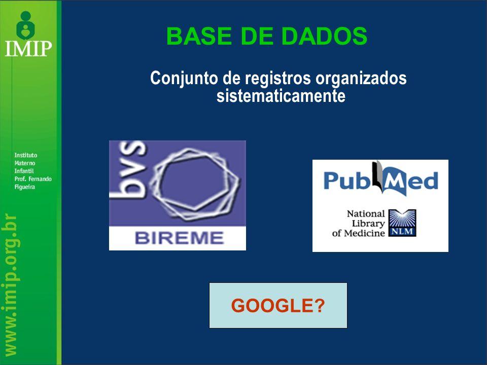 BASE DE DADOS Conjunto de registros organizados sistematicamente GOOGLE?