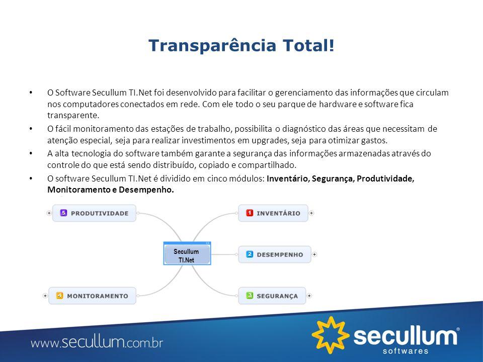 Transparência Total! O Software Secullum TI.Net foi desenvolvido para facilitar o gerenciamento das informações que circulam nos computadores conectad