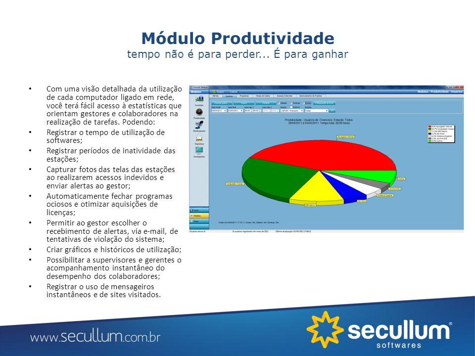 Módulo Monitoramento Monitorar os usuários em tempo real, permite ao gestor montar um perfil de comportamento de cada colaborador, descobrir seus potenciais e corrigir condutas e procedimentos inadequados.