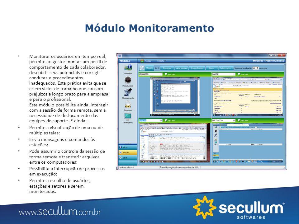 Módulo Monitoramento Monitorar os usuários em tempo real, permite ao gestor montar um perfil de comportamento de cada colaborador, descobrir seus pote