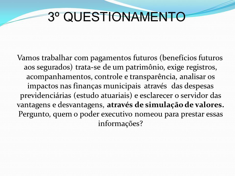 3º QUESTIONAMENTO Vamos trabalhar com pagamentos futuros (benefícios futuros aos segurados) trata-se de um patrimônio, exige registros, acompanhamento