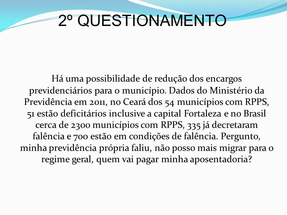2º QUESTIONAMENTO Há uma possibilidade de redução dos encargos previdenciários para o município. Dados do Ministério da Previdência em 2011, no Ceará