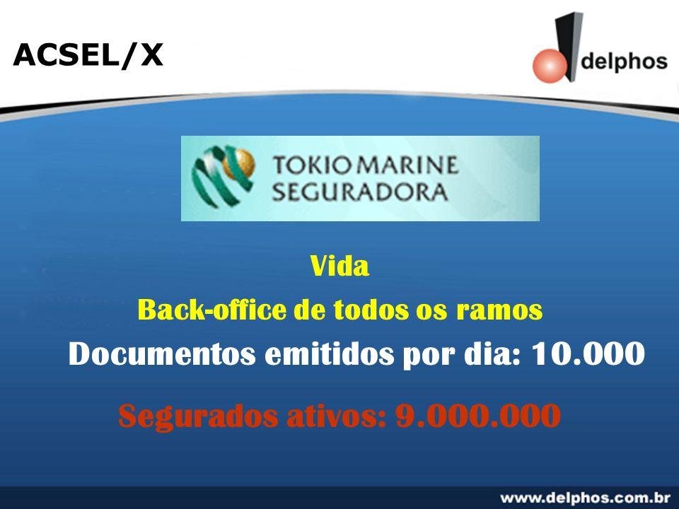 ACSEL/X Vida Back-office de todos os ramos Segurados ativos: 9.000.000 Documentos emitidos por dia: 10.000