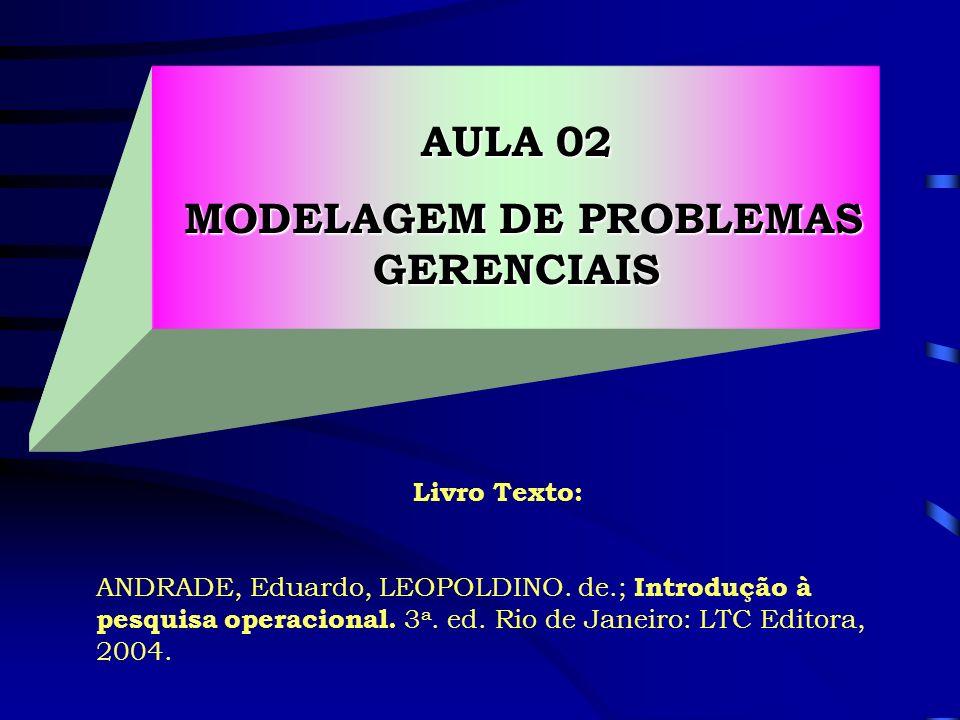 Livro Texto: ANDRADE, Eduardo, LEOPOLDINO. de.; Introdução à pesquisa operacional. 3 a. ed. Rio de Janeiro: LTC Editora, 2004. AULA 02 MODELAGEM DE PR