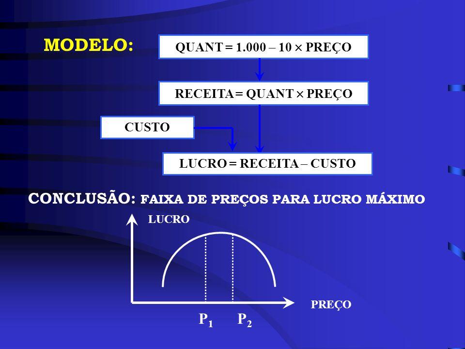 MODELO: QUANT = 1.000 10 PREÇO RECEITA = QUANT PREÇO LUCRO = RECEITA CUSTO CUSTO CONCLUSÃO: FAIXA DE PREÇOS PARA LUCRO MÁXIMO PREÇO LUCRO P2P2 P1P1