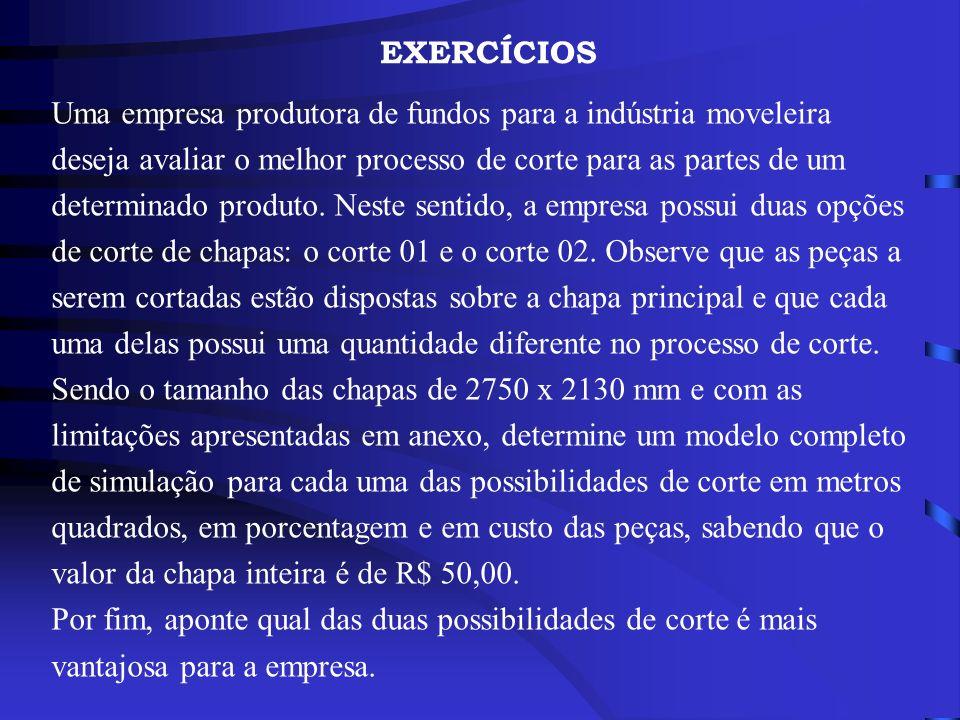 EXERCÍCIOS Uma empresa produtora de fundos para a indústria moveleira deseja avaliar o melhor processo de corte para as partes de um determinado produ