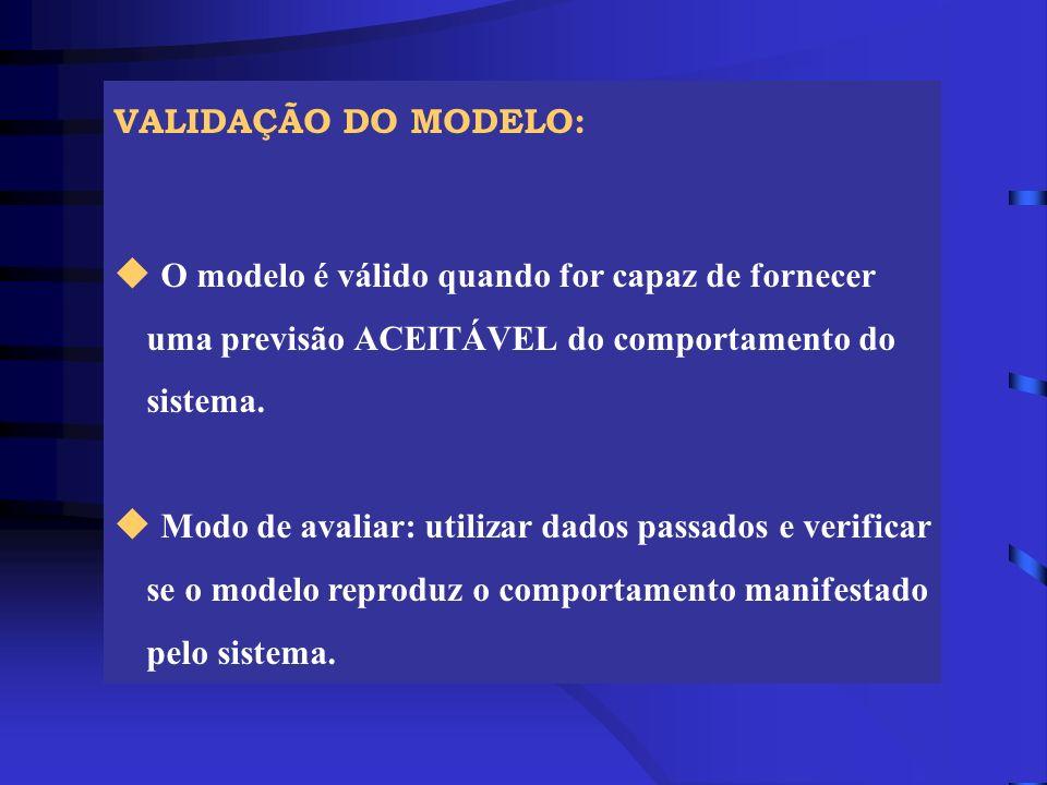 VALIDAÇÃO DO MODELO: u O modelo é válido quando for capaz de fornecer uma previsão ACEITÁVEL do comportamento do sistema. u Modo de avaliar: utilizar